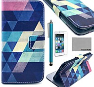 COCO FUN® Blue Puzzle Pattern PU Leather Case with Screen Protecter, Stand and Stylus for iPhone 6S Plus/6 Plus