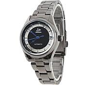 Frauen elegante Zifferblatt schwarz Stahlband Automatik Automatik-Armbanduhr