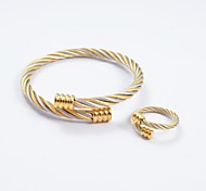 Fashion Gold-Silver Flat Bracelet Tip Titanium Steel Bangles and Rings Jewelry Sets