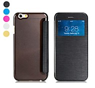 Ultra-thin Flip-open Screen Display Window Design Faux Leather Full Body Case for iPhone 6 (Assorted Colors)