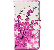 La prune rose motif de fleurs en cuir PU boîtier en plastique dur pour Huawei G6
