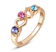 Classic Austrian Crystals Rose Gold Plated Colorful Stones Heart To Heart Ring Party Jewelry