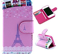 Pink Eiffel Tower Pattern Wallet Style Flip Stand TPU+PU Leather Case for iPhone 4/4S