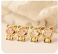 Love Is You Of Lovely Cat 's-eye Doodle Cat Earrings Fashion
