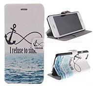 ancla y el patrón de la playa cubierta de cuero de la PU con el soporte para el iphone 6