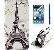 Eiffel Tower Design PU Leather Full Body Cover with Protective Film and Stylus for iPhone 6 Plus