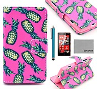 COCO FUN® Pineapple In Rose Pattern PU Leather Case with Screen Protector, Stylus and Stand for Nokia Lumia N520