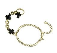 Lureme®Punk Metallic  Black Cross Hand Chain