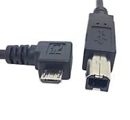 0.3m 1 pie derecho en ángulo de 90 grados micro USB OTG para escáner de impresora estándar de tipo b cable del disco duro del envío libre