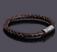 Men's Fashion Personality Titanium Steel Magnet Leather Woven Color Bracelets Christmas Gifts