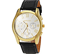 Men's Casual Gold Case Leather Band Quartz Dress Watch (Assorted Colors)