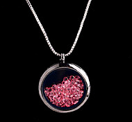 aleación redonda de cristal magnética rosa flotando medallón de diamantes de imitación de estar pendiente