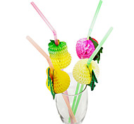 Hawaii Style Fruit Plactis Party Straws (100/Package Random Color)