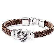 панк-стиль голова волка коричневый кожаный браслет (1 шт)