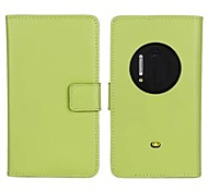 Solid Color Pattern Genuine Leather Full Body Case with Stand and Card Slot for Nokia Lumia 1020