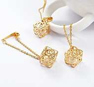 Fashion Gold Titanium Steel Hollow Out Box CZ Diamond Inside (Necklace&Earrings) Jewelry Set