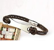 Men's Fashion Joker Personality Titanium Steel Leather Woven Glaze Bracelets
