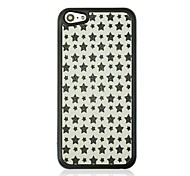 Black Five Pointed Star Leather Vein Pattern Hard Case for iPhone 5C