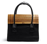 COD®Lady Chinese Bamboo Wind Canvas Handbag Black