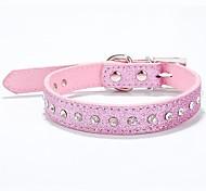 Lureme PU Crtstal Collar for Pets Dogs (Random Color)