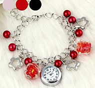 Fashionable Women's Plum Flower-Shaped Pearl Crystal Glass Bracelet Watch (1Pc)(Assorted Colors) Cool Watches Unique Watches