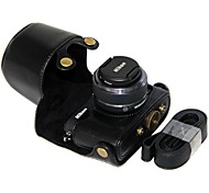Pajiatu® PU Leather Detachable Camera Protective Case Bag Cover with Shoulder Strap for Nikon J3 10-30mm Lens