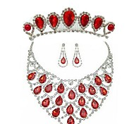Fashion Red Alloy (Includes Headdress&Necklace&Earrings) Hair Bands Jewelry Set of 3 (Red)