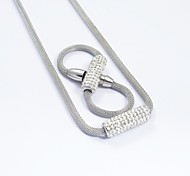 Fashion Silver Titanium Steel Full Diamonds Inlaid Snake Chain Necklace and Bracelets Sets