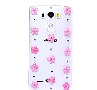 DIY Pink Blooming Blossoms with Rhinestone Pattern Plastic Hard Case for LG G3