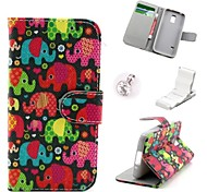 Colorful Baby Elephant Pattern PU Leather Case and Mini Display Stand with Diamond Dust Plug for Samsung Galaxy S5 Mini