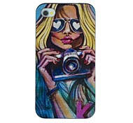 The Sexy Girl with Glasses Holding A Camera Pattern PC Hard Back Cover Case for iPhone 4/4S