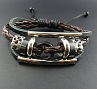 Lureme®Simple Style Men's Loops Leather Bracelet