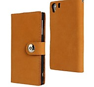Fashion Scrub Genuine Leather Full Body Case with Stand and Card Slot for Xperia Z1 L39H