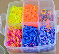 3000pcs Colorful DIY Rainbow Color Loom Style Silicone Band Bracelets(3000pcs Bands, 1 Looms ,1 Hook+1Box