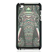 caso duro del patrón de la vena de cuero de elefante para ipod touch 4