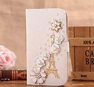 Diamant Eisenturm und Blütenblatt PU-Leder Ganzkörper-Case mit Ständer und Card Slot für iphone 5c