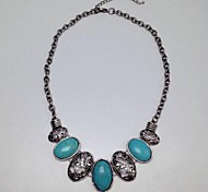 Retro Bohemia Blue Alloy Turquoise Short Necklace(Blue)(1Pcs)