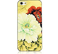 Common Peony Pattern Black Frame Back Case for iPhone 5/5S