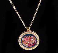 aleación redonda de cristal magnética multicolor flotando medallón de diamantes de imitación de estar pendiente