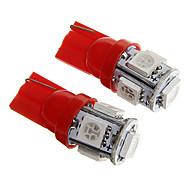 t10 1w 100lm 5 × 5050 SMD llevó la luz roja para lámparas salpicadero del coche / de la puerta / maletero (dc12v 2pcs)