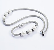 Fashion Silver Titanium Steel Charming Pearl Beads Snake Chain Necklace and Bracelets Sets