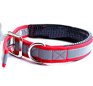 Retractable nylon collar with reflective stripe for pets dogs