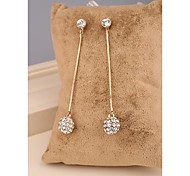 Fashion Long OL White Champagne Imitation Diamond Alloy Stud Earrings for Women in Jewelry
