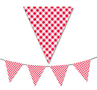 Red Grid Flag Banner Party Accessory