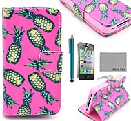 COCO FUN® Pineapple In Rose PU Leather Full Body Case with Screen Protector, Stand and Stylus for iPhone 4/4S