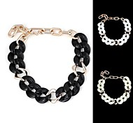Vintage Thick Chain Twisted Sheet-Shaped Plastic Resin Necklace (1Pc)