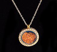 aleación redonda de cristal magnética naranja flotando medallón de diamantes de imitación de estar pendiente