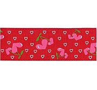 3/8 Inch Love Cherry pattern Rib Ribbon Printing Ribbon- 25 Yards Per Roll (More Colors)