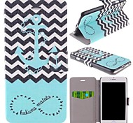 The Waves Ships Anchor Pattern Clamshell PU Leather Full Body Case with Card Slot for iPhone 6
