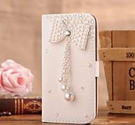 Diamant Perle bowknot PU-Leder Ganzkörper-Case mit Ständer und Card Slot für Samsung Galaxy S4 i9500